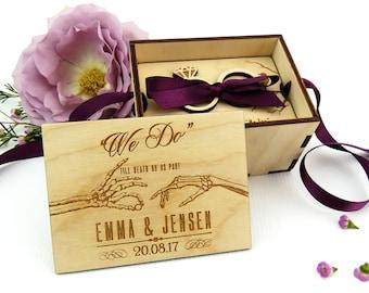 Gothic wedding ring box, Halloween wedding, Alternative wedding, Personalised wedding ring box, Wooden ring box, Ring bearer gift