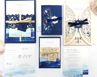 Nautical wedding invitation, Laser cut wedding stationery suite - Watercolour invite, Navy invitation, Blush wedding invite