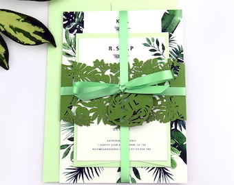 Greenery wedding invitation band, Wedding stationery suite - Botanical wedding invitation, Laser cut tropical invitation, Palm Leaf wedding