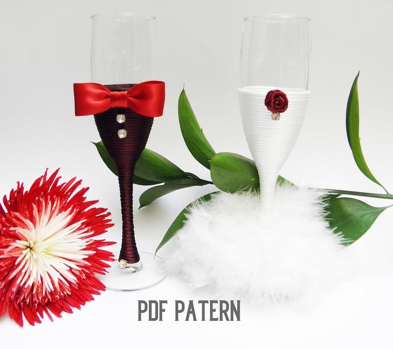 DIY wedding ornament Wedding glasses pattern Bridesmaid glass pattern