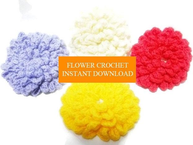Flower Crochet Dhalia INSTANT DOWNLOAD diy Crochet Flower