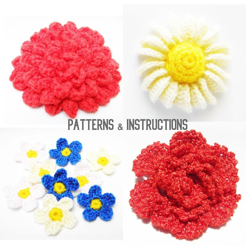 4 Crochet Patterns Crochet Flowers Flowers Tutorial Diy Etsy