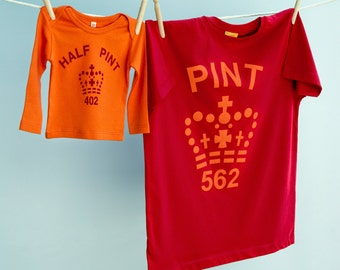 Matching T Shirt Pint and Half Pint Gift Twinset for Dad and Son or Daughter in Red & Orange organic cotton