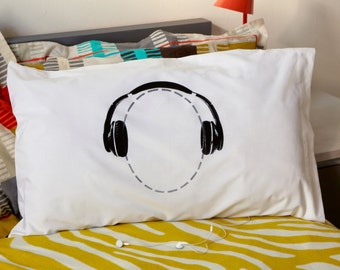 Headphones Pillowcase for Music Lovers Available with Personalisation from Twisted Twee