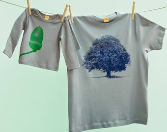 Dad and Baby Matching Oak and Acorn Christmas T shirt Twinset for Father and Son or Daughter