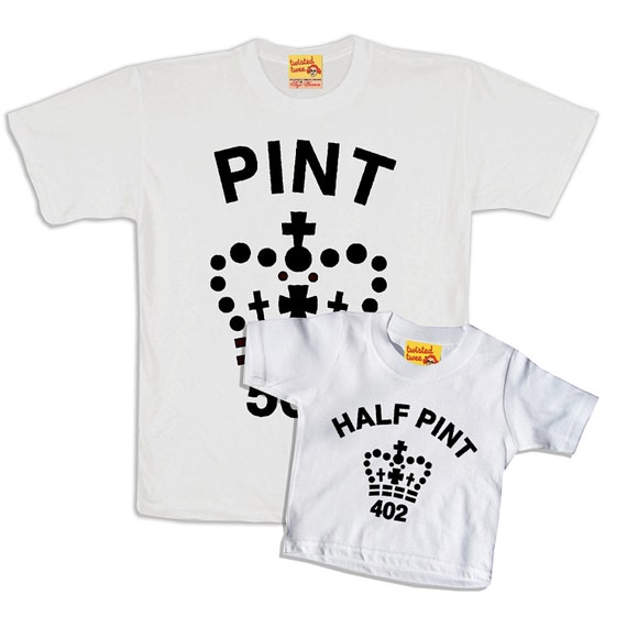 Noël pinte blanc pinte et demi pinte Noël correspondant T shirt Twinset pour père et fils ou fille dddab2
