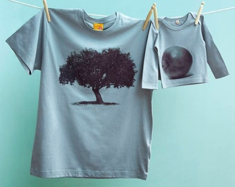 Twinning Christmas Apple Tree and Apple Tshirt Tops for Dad and Son or Daughter