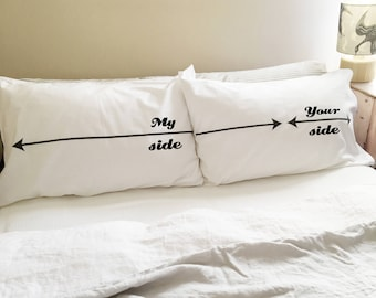 Couples Funny Pillowcase My Side/Your Side Pillow Case Set Gift for Husband, Gift for Wife, Gift for Your Lover
