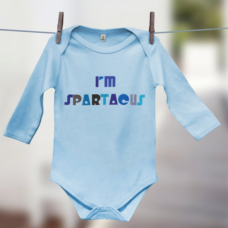 7a744d64b2e2f I m Spartacus Babygrow Funny Baby Gift for Baby
