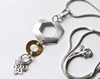 Necklace in 925 sterling silver and gold
