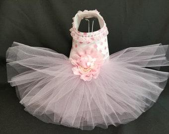 Pink Puff Dog Harness Dress XXSmall Dog Dress to X4 Large Dog Dress, Dog Dresses. Dog Clothes, Pink Dog Dress, Designer Dog Dress.