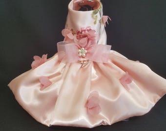 Dog Dress, Peachy Pink 3 D Flowers, Dog Tutu, Dog Harness Dress, Harness Dress, Pet Clothes, Pet Apparel.
