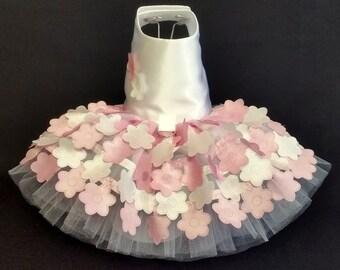 Dog Dress,  Pink Flowers Dog Dress,  Dog Harness Dress, Dog Tutu, Designer Dog Dress. Wedding Dog Dress, Cat Dress.