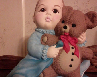 Hand Painted Ceramic Baby Boy holding Teddy