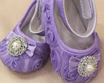 Lavender Baby Crib Shoes, Satin, Rosette, Baby Shoes, Baptism Shoes, Wedding, Christening Shoes, Sparkle, Fancy Shoes, Soft Shoe