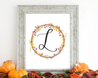 Digital Download - Monogram letter L print - Letter Print - Floral Monogram - Initial Print - Wreath Initial Print - Letter L print - Wreath