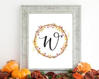 Digital Download - Monogram letter W print - Letter Print - Floral Monogram - Initial Print - Wreath Initial Print - Letter W print - Wreath