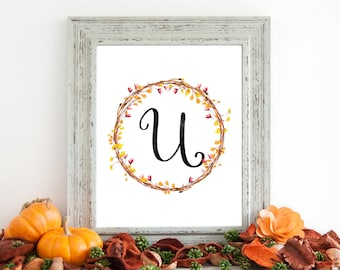 Digital Download - Monogram letter U print - Letter Print - Floral Monogram - Initial Print - Wreath Initial Print - Letter U print - Wreath