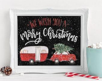 Digital Download - 8x10 - Christmas Signs - We wish you a Merry Christmas - Christmas Chalkboard Sign - Holiday Decor - Christmas Printable