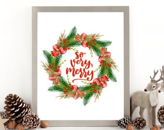 Christmas Wreath Art - Very Merry - Christmas Wall Art - Christmas Printable - Holiday Sign Wreath - Christmas Wreath - Christmas Wall Decor