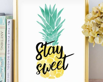 Pineapple Print - Pineapple Decor - Tropical Print - Tropical Decor - Beach Decor - Beach Art - Beach Print - Digital Download - Typography