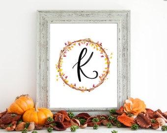 Digital Download - Monogram letter K print - Letter Print - Floral Monogram - Initial Print - Wreath Initial Print - Letter K print - Wreath