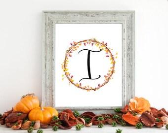 Digital Download - Monogram letter I print - Letter Print - Floral Monogram - Initial Print - Wreath Initial Print - Letter I print - Wreath