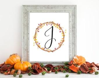 Digital Download - Monogram letter J print - Letter Print - Floral Monogram - Initial Print - Wreath Initial Print - Letter J print - Wreath