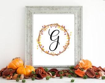 Digital Download - Monogram letter G print - Letter Print - Floral Monogram - Initial Print - Wreath Initial Print - Letter G print - Wreath