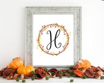 Digital Download - Monogram letter H print - Letter Print - Floral Monogram - Initial Print - Wreath Initial Print - Letter H print - Wreath