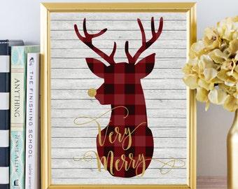 Christmas Decor - Very Merry - Buffalo Plaid - Christmas Deer - Christmas Decorations - Christmas Print - Christmas art - Rustic Christmas