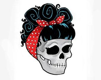 2f4e865f9 3 in Rockabilly Skull Sticker