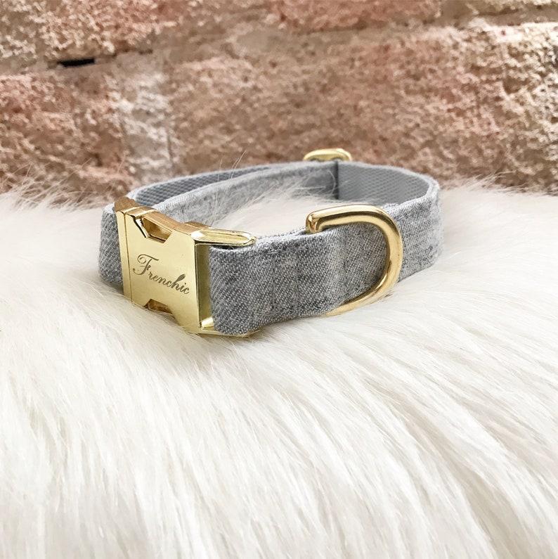 Adjustable dog collar Grey denim image 0