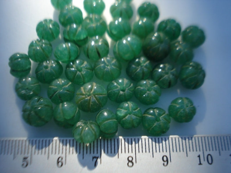 Carved Emeralds Drilled 7-8 mm Pumpkin Green Emerald Beads 10 Ct Drilled Emeralds Lot MGD00