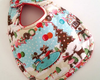 Christmas Baby Bib - Baby Bib - Christmas Gingerbread Baby Bib - Christmas Infant Bib - Absorbent Baby Bib - Holiday Infant Baby Bib