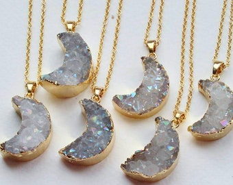 Agate druzy crescent moon crystal  aura necklace clear raw clustergeode  rock