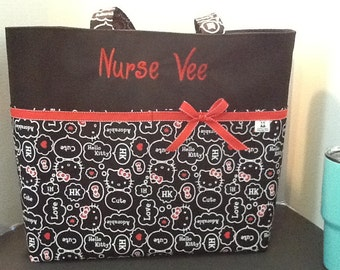 fa66d1d6a Personalized Diaper bag, tote bag, made with Hello Kitty print fabric