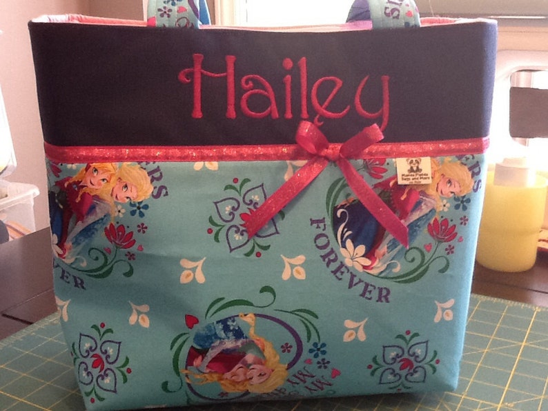 Personalized tote bagdiaper bag made with Frozen fabric
