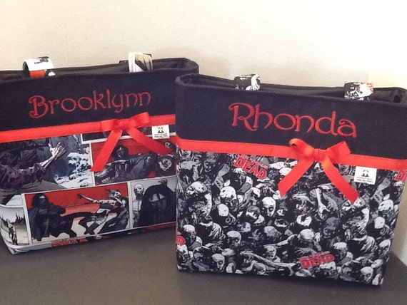 Personalized Zombiewalking deaddiaper bag tote bag made with Walking Dead fabric