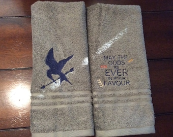Personalized towel set with Hunger Games quotes/symbols/ Mocking-jay