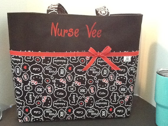 ab30db6d5b Personalized Diaper bag tote bag made with Hello Kitty print