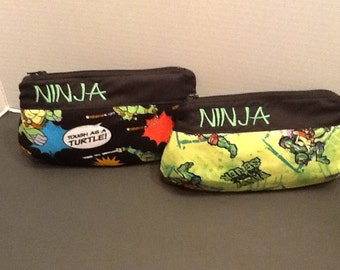 Personalized make up bag in 3 sizes made With Teenage Mutant Ninja Turtles in your choice Of fabric
