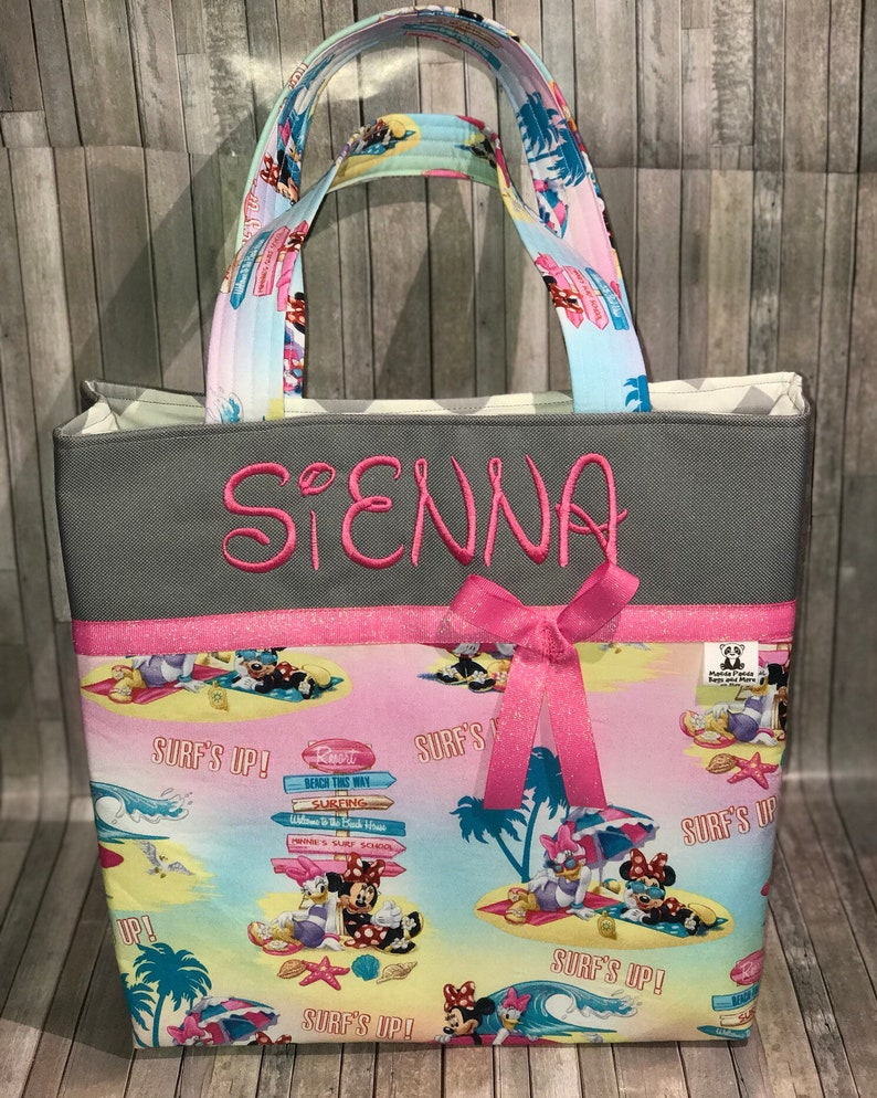 Personalized Minnie Mouse tote bag Minnie Diaper bag Minnie pocket bag featuring Minnie Mouse