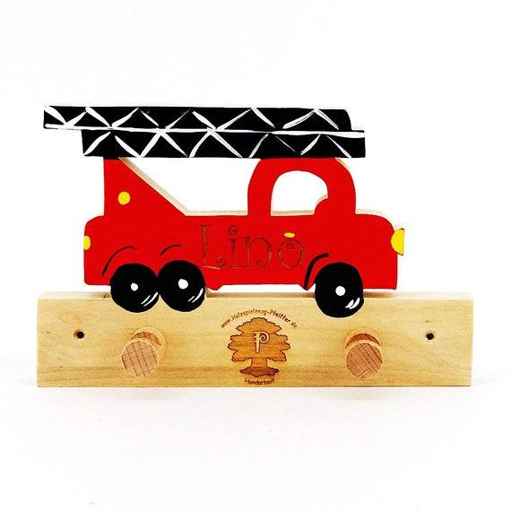 Feuerwehrauto Fahrzeug Auto Kinder Garderobe Mit Namensgravur