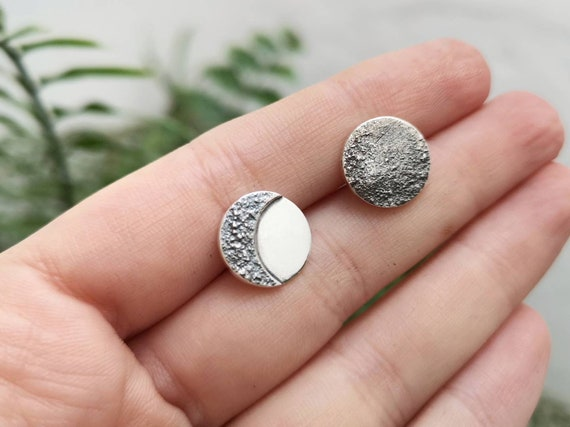 Bohemian Moons Made to Order Full Moon Earrings Crater Texture Drop Style Oxidized Sterling Silver Full Moon Phase Dangle Earrings