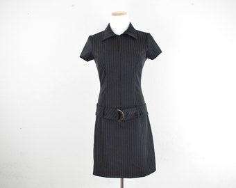 1f7329c2f54 FREE usa Shipping Vintage Women s dropwaist polyester dress   retro dress  City  Triangles  1980 s  size 7 8
