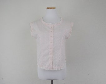 df207c7559457b FREE usa SHIPPING vintage ladies pink eyelet boxy blouse/ short top/sleeveless  button up/cropped top size L