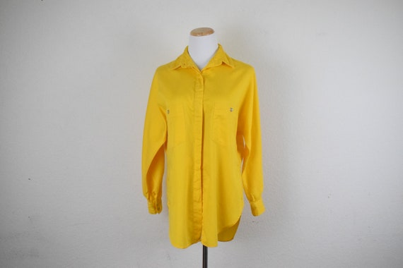 Bright Yellow Cotton Button up Blouse by Campus Ca