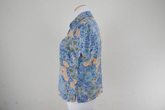 FREE usa SHIPPING topblouse safari blouse short sleeve  jungle shirt button up shirt tropical rayon blouse size 10P