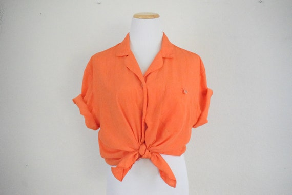 1980s Bright Orange Button Up Blouse by Teddi